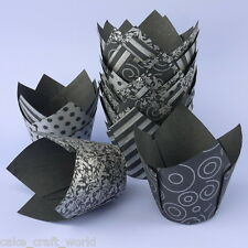 Black and Silver Vogue Design Tulip Muffin Wraps - Pack Of 36