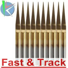 Fresa 10pz 0.1mm 10° gradi Degree  PCB Engraving  Titanium Coated Carbide CNC