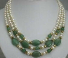 3 rows 7-8mm white pearl and green jade necklace