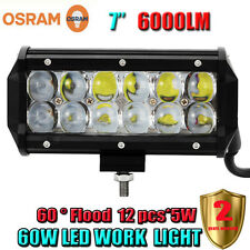 7Inch 60W OSRAM Led Light Bar Flood Work Light 4WD ATV SUV Off-road Driving Lamp