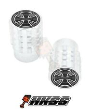 2 Silver Billet Aluminum Knurled Tire Air Valve Stem Caps - IRON CROSS BW EP4
