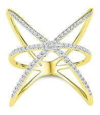 Modern! 100% 10K Yellow Gold & White Diamond Cage Style Cross-Over Ring .33ct
