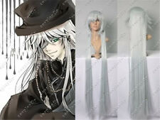 Vogue Black Butler Kuroshitsuji Undertaker Silver White Long Cos Full Hair Wig