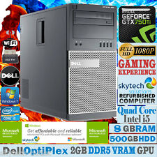 Ultra rapide dell gaming pc quad core i5 8GB 500GB win 7 bon marché de bureau gtx 750 ti