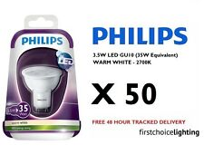 50 x Philips 3.5W (35W) Low Energy GU10 LED Spot Lamps Bulbs 2700K Warm White