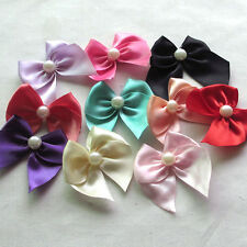 40PCS Ribbon Flowers Bows w/ Pearl Appliques Craft Decor Lots Mix Bulk A0440