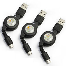 3Packs, High Speed Retractable Sync & Charge Micro-USB Data Cable (Black)