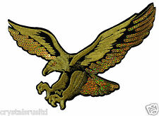 10 x HUGE GOLD EAGLE BIRD IRON-ON HOTFIX EMBROIDERED BIKER TRANSFER PATCH