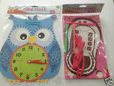 LEARN TO TELL THE TIME CLOCK OWL & LEARN TO TIE LACES SET CHILDRENS EDUCATIONAL
