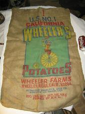 # 2 ANTIQUE TEXTILE BURLAP POTATO BAG SACK BICYCLE WHEELER WALL ART SIGN CA USA