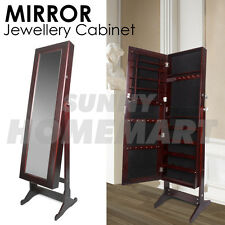 Mirror Jewellery Cabinet Storage Organiser Box Makeup Wooden Full Length WALNUT