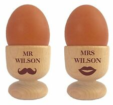 personalised Mr & Mrs Egg Cups Set of 2 110942 lip/moustache Wedding anniversary