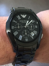 Emporio Armani Ar1400 Ceramic Black Mens Chronograph Wrist Watch