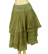 137064 NEW $335 Ewa I Walla Lagenlook Tiered Tine Layered Banded Skirt Medium M
