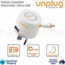 Dual 2 Port Home Wall Charger Micro USB Retractable Charging Cable Samsung Apple