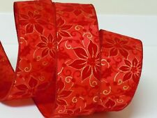 5YDS CHRISTMAS RED POINSETTIA HOLLIES GOLD SWIRLS Wired Ribbon WREATH GIFT BOW