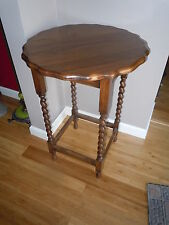 ANTIQUE OAK BARLEY TWIST PIE CRUST NIGHT STAND BEDSIDE END TABLE SCALLOPED EDGE