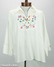 Spanish Ecuadorian Mariposa Hand Embroidered Men's Cotton Shirt Small