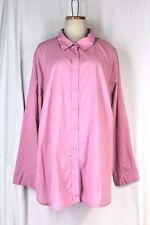WOMAN WITHIN Buttondown Shirt Plus Size 2X Sugar Pink 100% Cotton Long Sleeve