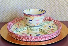 Temp-tations Old World CONFETTI 3-Pc, 5 Way Convertible Chip n Dip Cake Stand