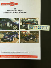DECALS 1/43 RENAULT MEGANE KIT CAR DE MEYER RALLYE CRITERIUM 83 1997 RALLY WRC
