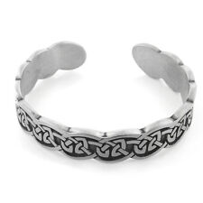 "Narrow Engraved Cuff of Celtic Knots Pewter Adjustable 7"" Bracelet"