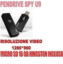 PENDRIVE SPIA U9 NASCOSTA 1280x960 VIDEO SENSORE MOVIMENTO  + MICRO SD 16 GB !