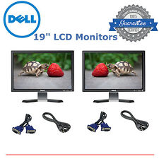 "Matching DUAL Dell Ultrasharp 19"" Widescreen LCD Monitors Gaming w/ cables"