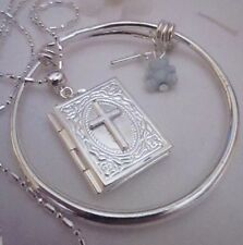 "Baby Boy Christening BIBLE LOCKET&st Sil Chain 16""+blue ted)/BXd/SALE."