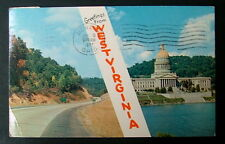 POSTCARD GREETINGS FROM WEST VIRGINIA CAPITAL WATER ROAD #44dsx9