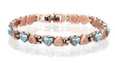 SOLID COPPER LINK MAGNETIC TURQUOISE BRACELET health stress #TQ-H healing HEARTS