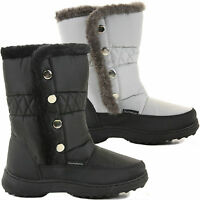WOMENS LADIES WARM QUILTED FUR LINED FLAT KNEE HIGH WINTER SNOW BOOTS SHOES SIZE