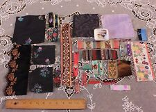 Victorian Lot Of 28 Antique French Silk&Velvet Ribbon Fabric Samples c1870~Dolls