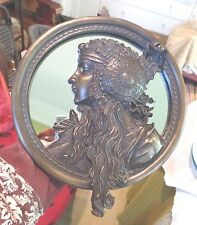GORGEOUS MUCHA STYLE ART NOUVEAU WOMAN MIRROR - VERY DETAILED HIGH RELIEF- HEAVY