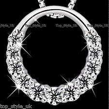 925 Sterling Silver Hollow Infinity Love Circle CZ Diamante Necklace Pendant   3