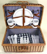 Wicker Picnic Basket Set - Plastic Table Service for Four - Blue Checkered Linen