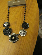 """Black & Clear Flowers Chain Necklace - 20-22"""" long - BNWT"""