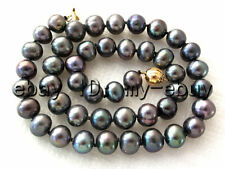 """Black Blue Rainbow Freshwater Pearl Necklace 14KGP Ball Clasp 17"""""""