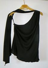 EXQUISITE!RARE YVES SAINT LAURENT ONE SHOULDER ATTACHED SCARF SILK BLOUSE