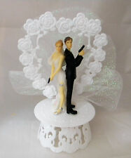 Wedding Reception Ceremony Cop Police Both Guns Bride and Groom Cake Topper