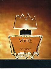 PUBLICITE ADVERTISING  1973   MOLYNEUX   parfum VIVRE
