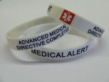 ADVANCED MEDICAL DIRECTIVE COMPLETED Alert Wristband Silicone bracelet ID Card