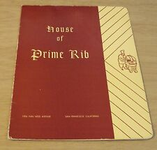 "VTG San Francisco MENU~""HOUSE of PRIME RIB""~Van Ness Ave~British Flair~"