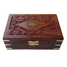 Indian Handcarved Brass Engraved Rectangular Wooden Gift Box