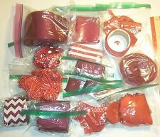 Mixed Lot of Red and Maroon Ribbon Remnants, Bow Making Scraps!