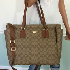 NEW COACH Khaki Brown Signature PVC Leather Laptop Travel Multifunction Baby Bag