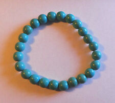 Beaded Natural Turquoise Bracelet - Stretch Fit - Protection from Falling
