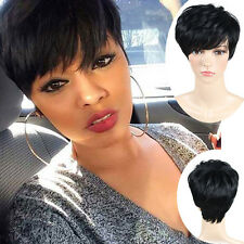 Fashion Short Cut Straight Layered Synthetic Wig Black Full Hair For Women Cheap