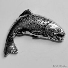 Rising Trout Pewter Brooch Pin - British Artisan Signed Badge - Fishing Rainbow