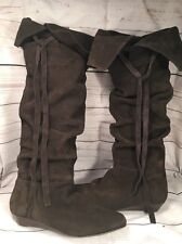 Nine West Wmns High Boots ABREL1 Brown Suede Sz 10M Tall Low Wedge Heel Slouch